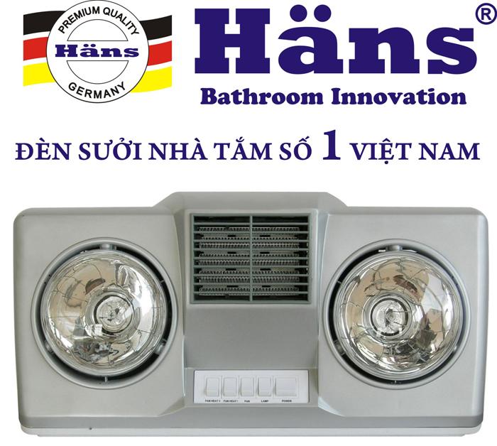 Đèn sưởi nhà tắm Hans 2 bóng thổi gió nóng (H2BHW)
