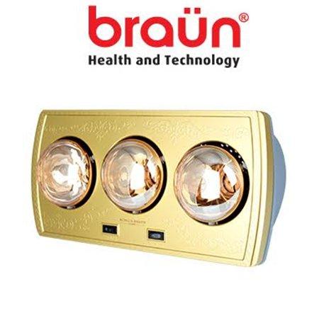 Đèn sưởi nhà tắm Braun 3 bóng vàng BU03