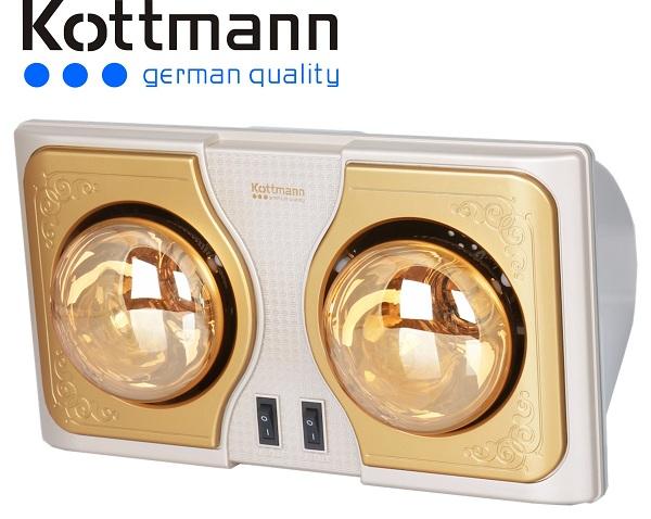 Đèn sưởi nhà tắm kottmann 2 bóng vàng new 2015(K2BH)