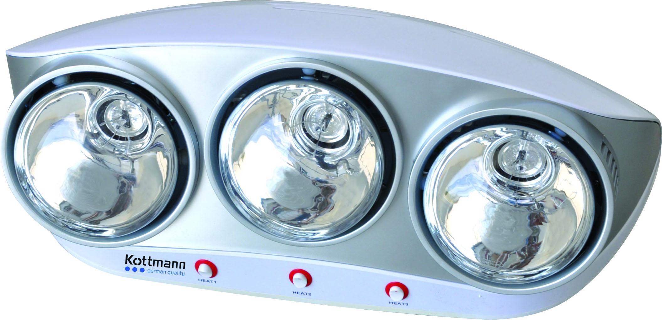 Đèn sưởi nhà tắm 3 bóng - dòng bạc (K3B-S)