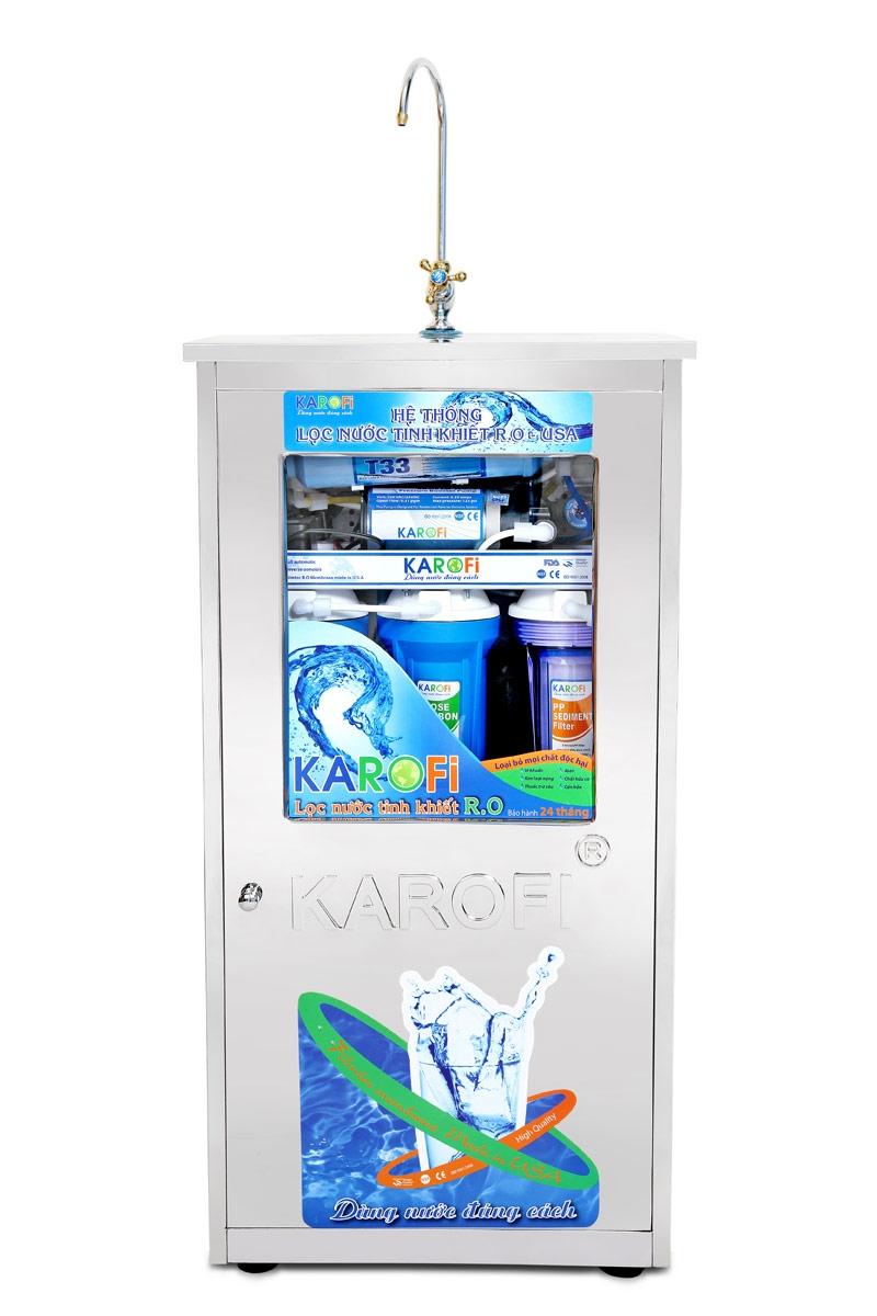 Máy lọc nước Karofi 7 lõi lọc có tủ bình áp thép (KT70 -T)