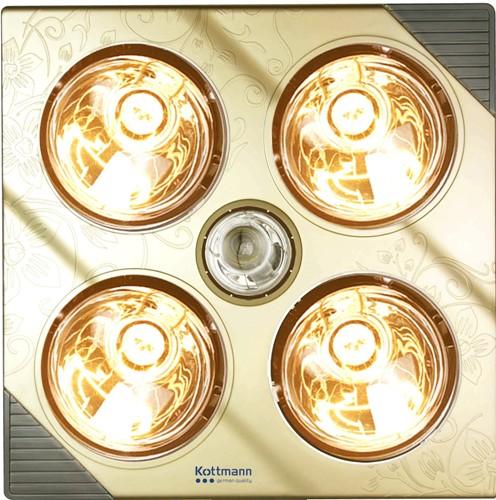 Đèn sưởi nhà tắm kottman 4 bóng treo tường - dòng vàng (K4BG)